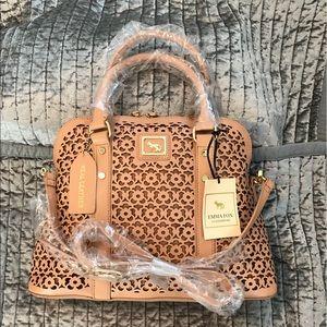 "Emma Fox ""Forsyth"" Leather Dome Satchel Handbag"